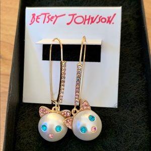 Betsey Johnson Kitty Earrings~ Brand New
